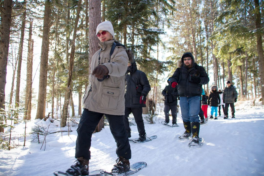Snowshoeing along the Laurentian Escarpment